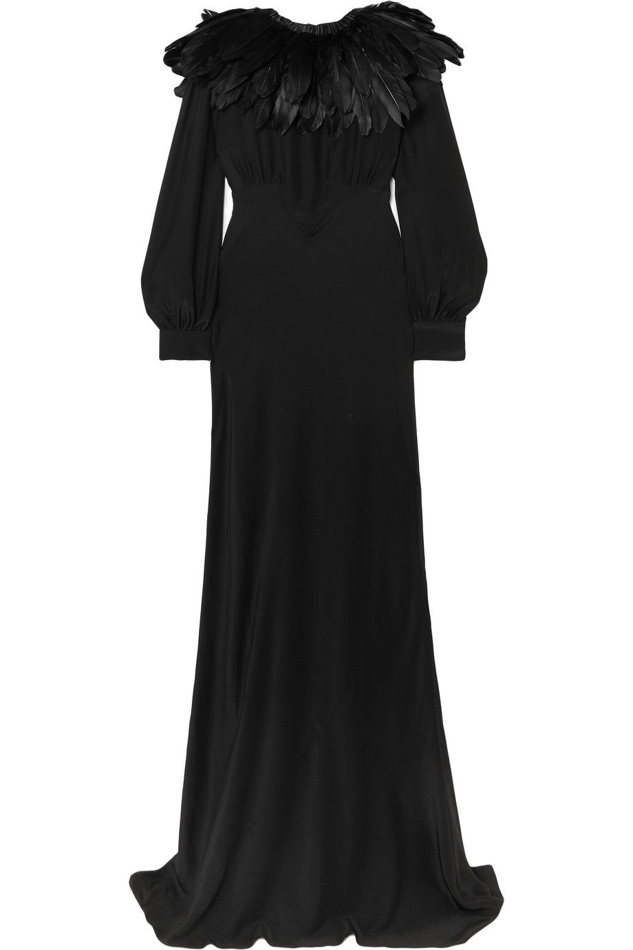Angelina Faux Feather Trimmed Silk Crepe De Chine Gown
