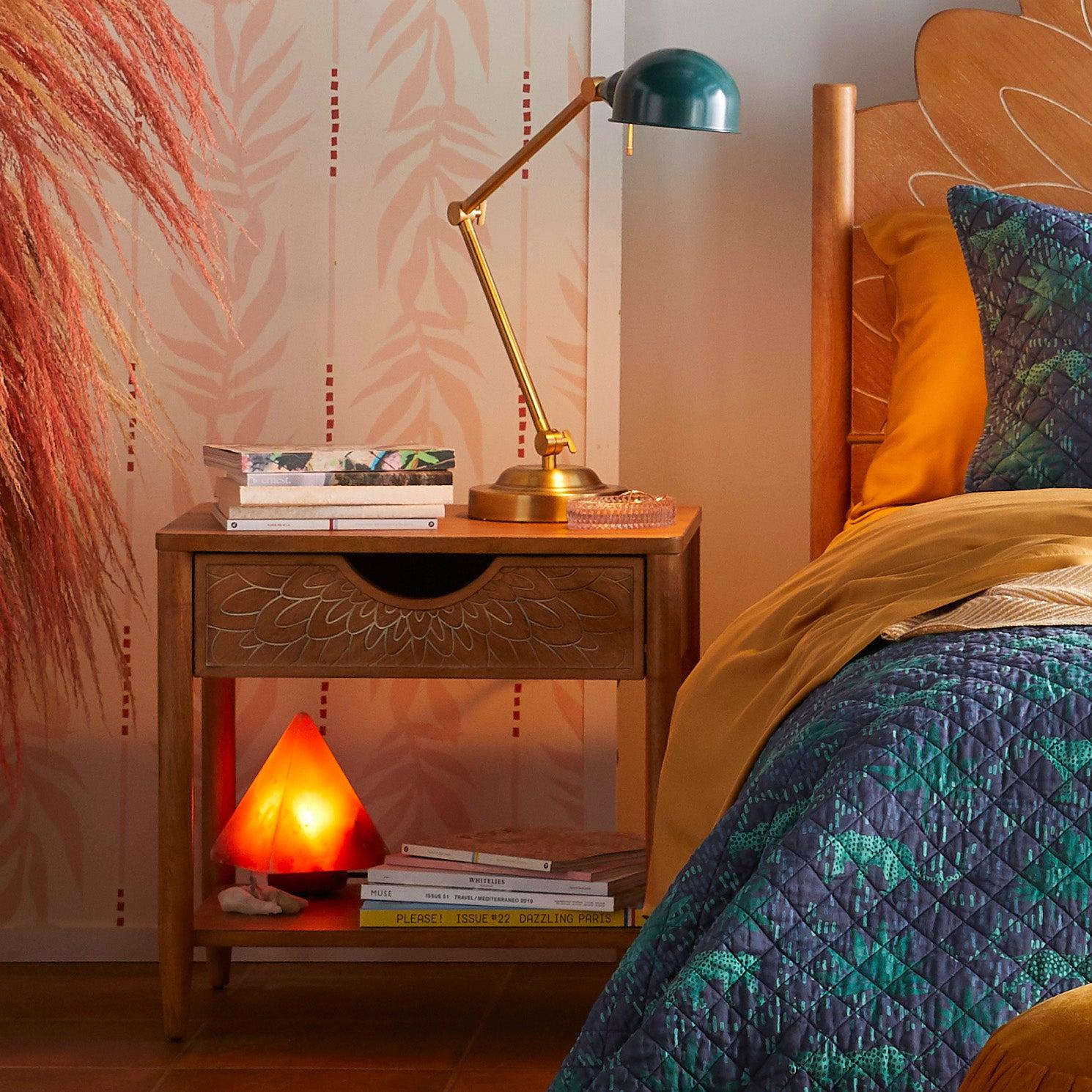 Drew Barrymore Flower Home Bohemian Carved Wood Nightstand