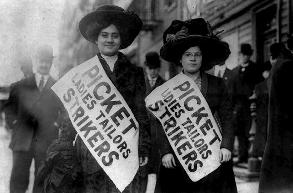 image of women on strike