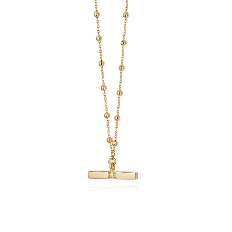 Stacked T Bar Necklace 18ct Gold Plate