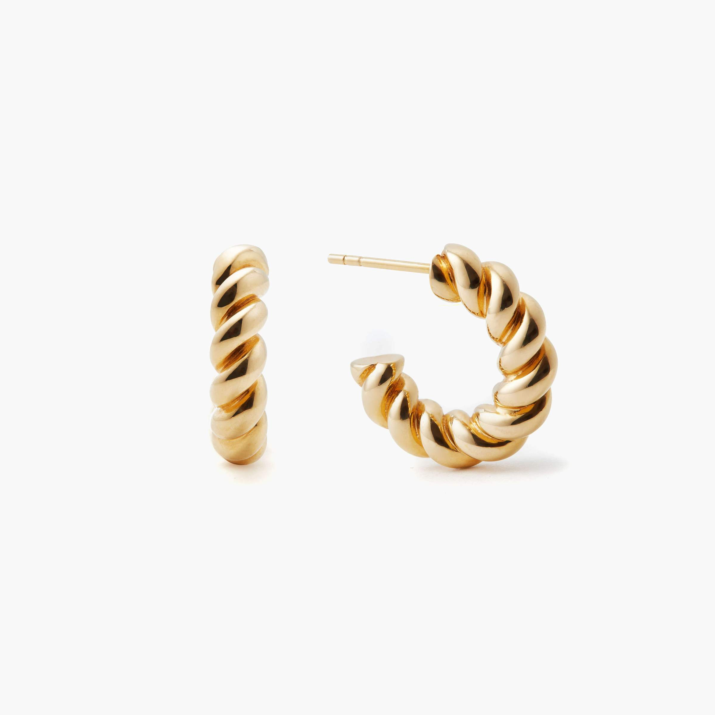 Mini Chunky Twist Hoops Yellow Gold Vermeil