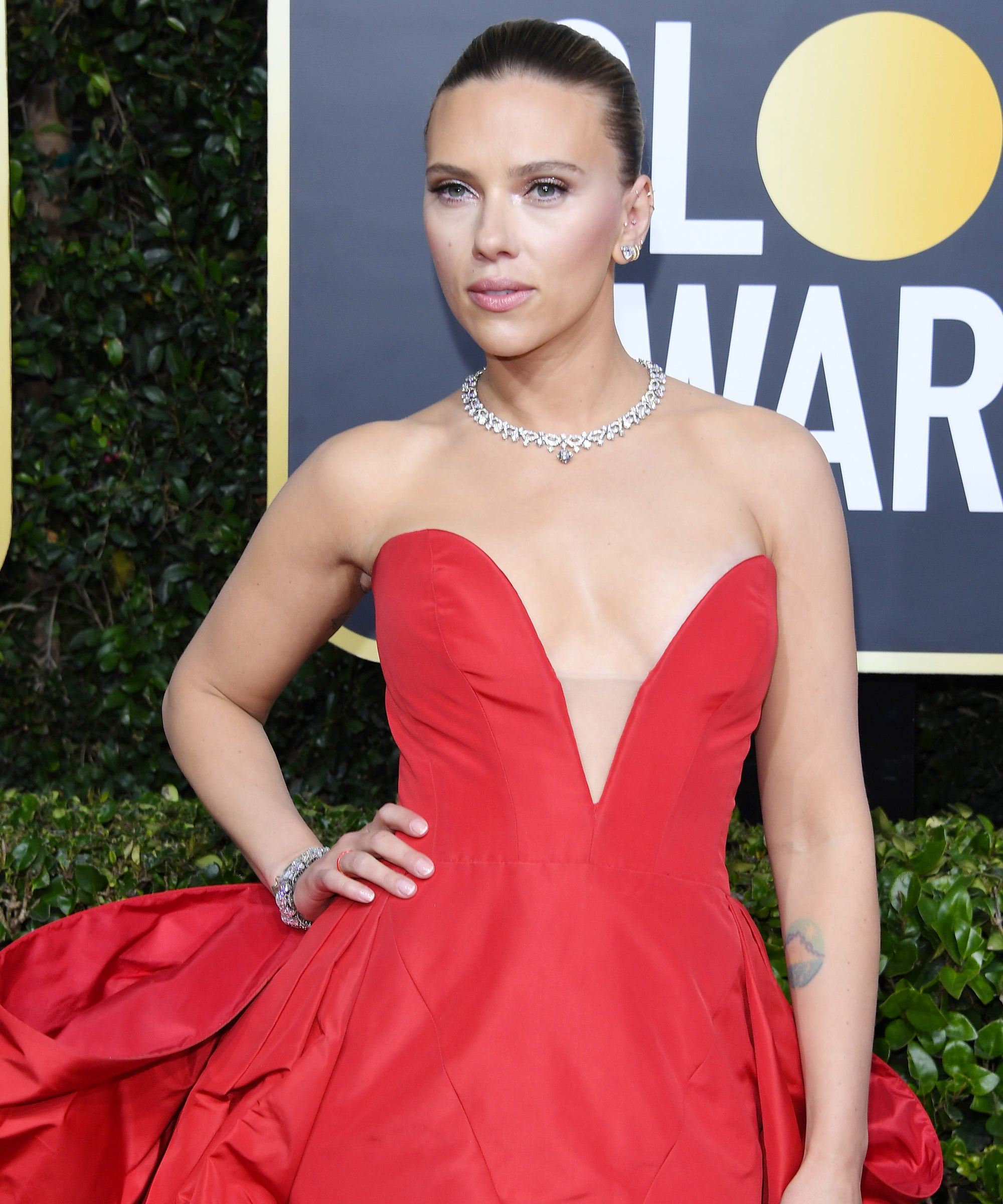 Scarlett Johansson's Golden Globes Look Puts Her Back Tattoo On Full Display