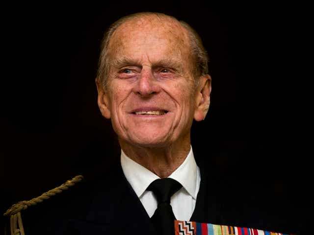 Prince Philip wearing his military medals of honor.