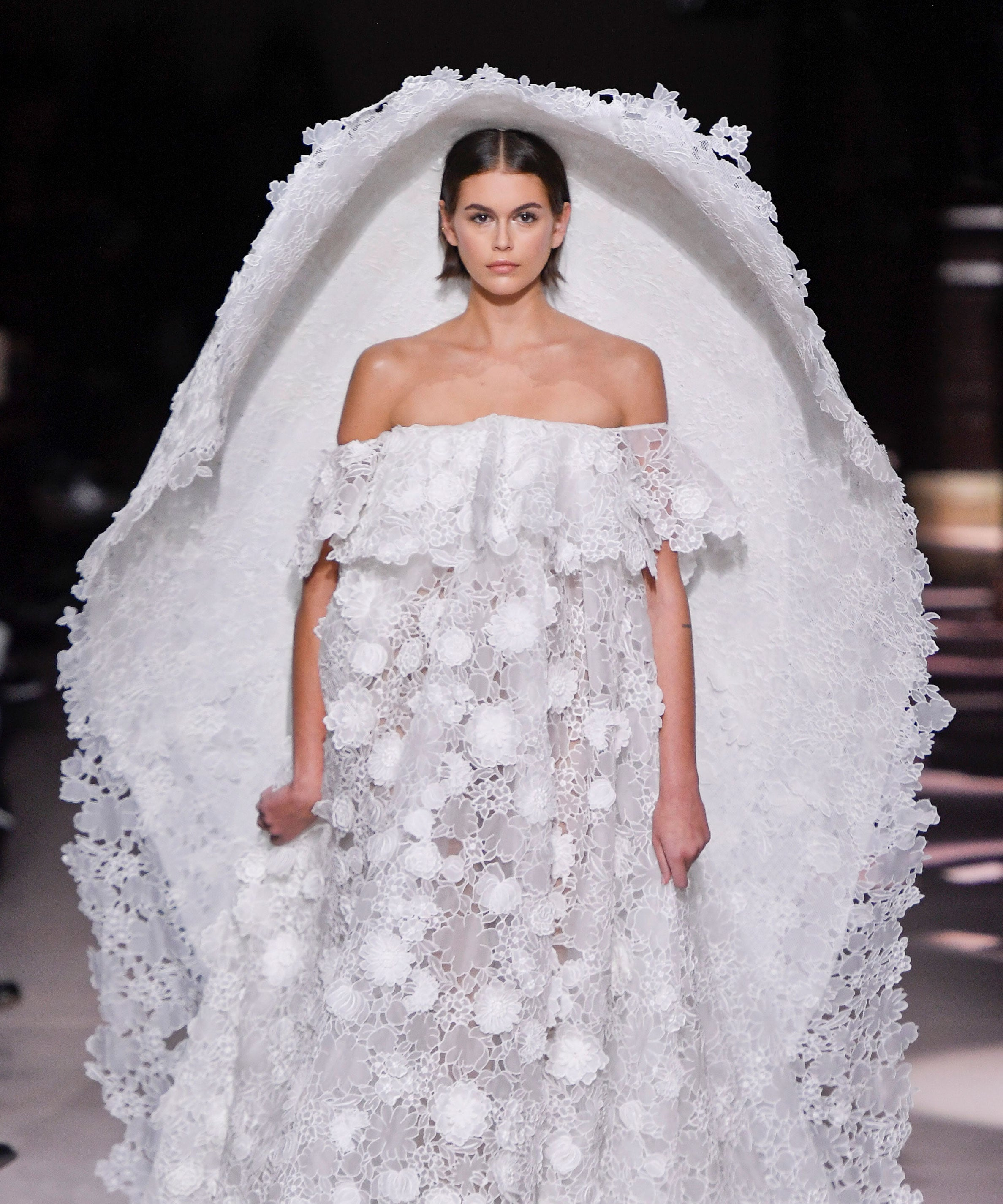 Kaia Gerber's Massive Givenchy Veil Is Destined To Be A Meme