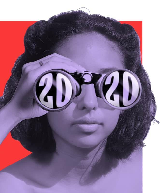 Photo illustration of a Woman looking through 2020 binoculara.