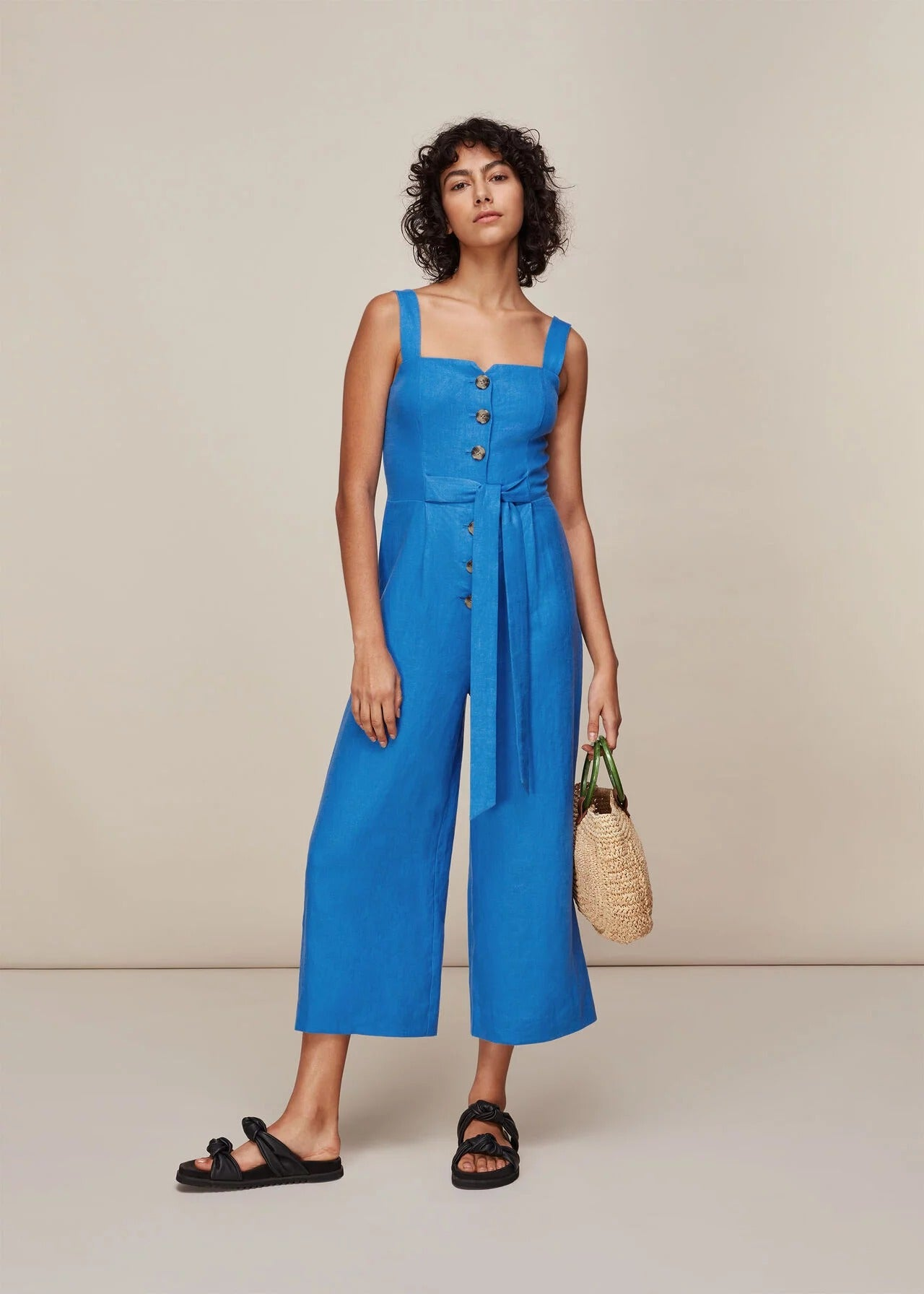 Nevin Utility Linen Jumpsuit in Grey - ONE-PIECE - BY
