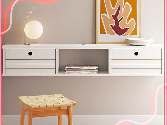 white floating desk from wayfair