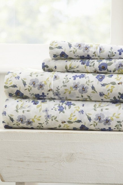 Soft Blossoms Pattern 4-Piece California King Bed Sheet