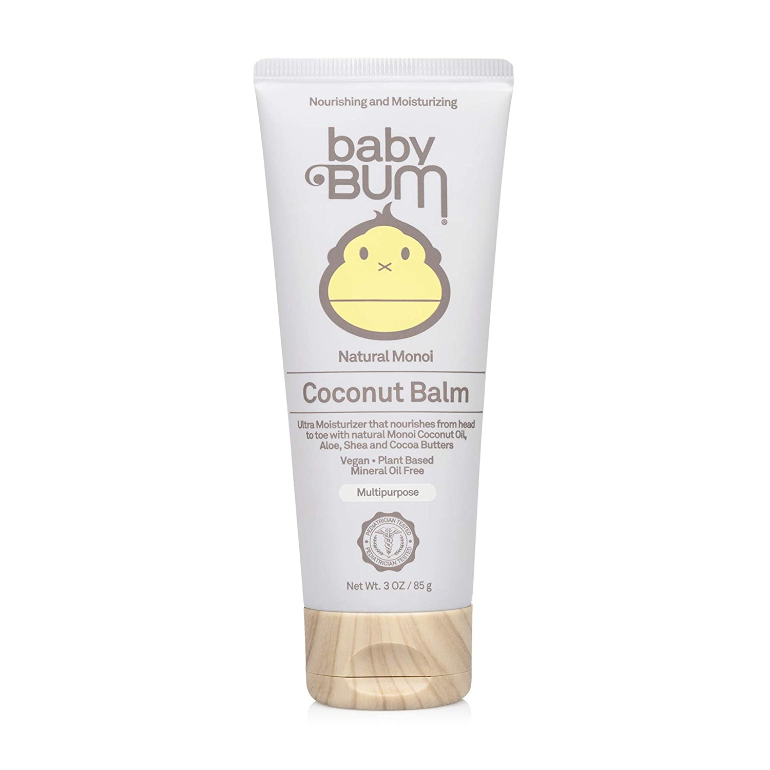 Baby Bum Monoi Coconut Balm | Natural Multipurpose Moisturizing Coconut Oil for Sensitive Skin with Shea and Cocoa Butter| Natural Fragrance | Gluten Free and Vegan | 3 FL OZ