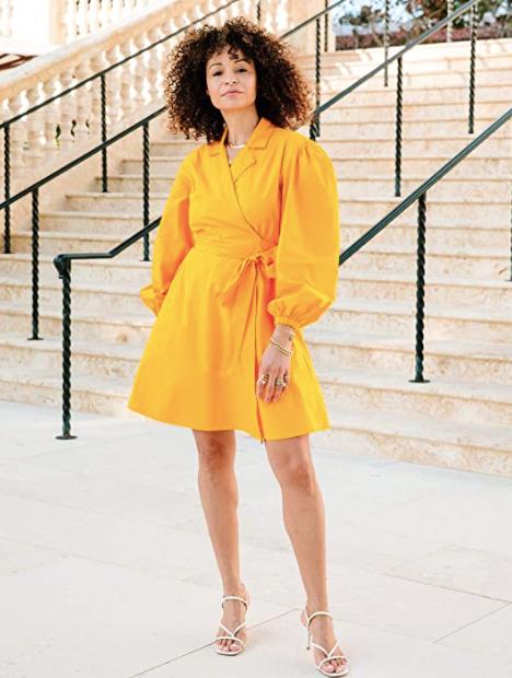 The Drop Saffron Balloon-Sleeve Wrap Mini Dress