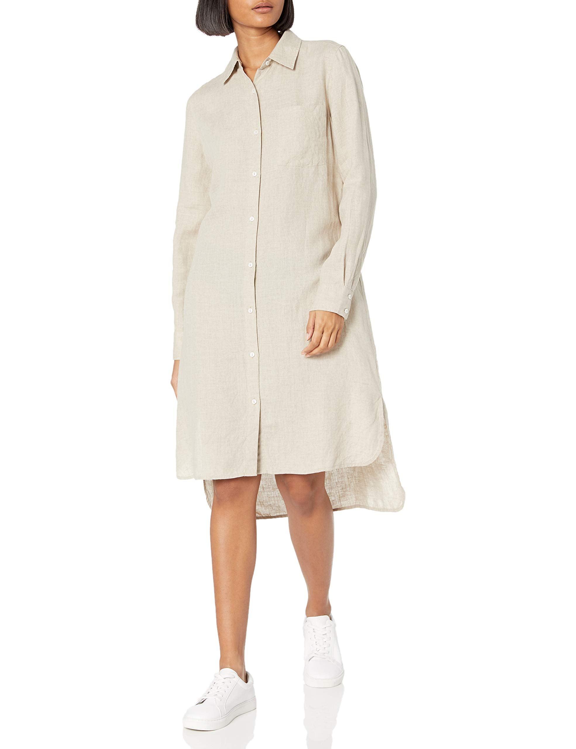 The Drop Celine Long Sleeve Loose-Fit Midi Shirt Dress