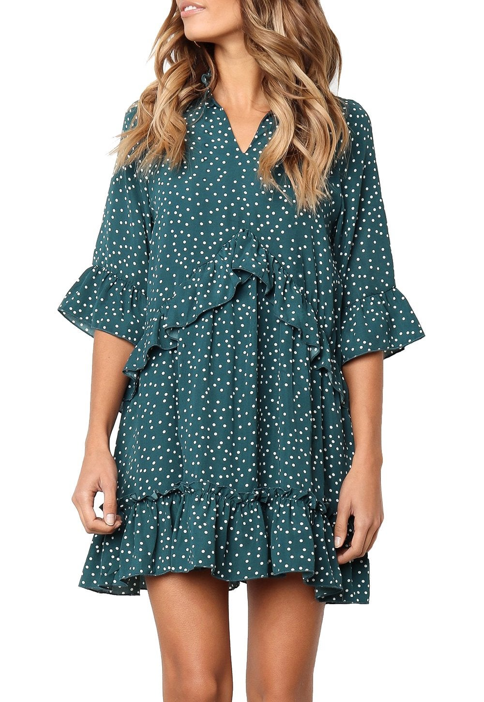 Mitilly V Neck Ruffle Polka Dot Swing Dress