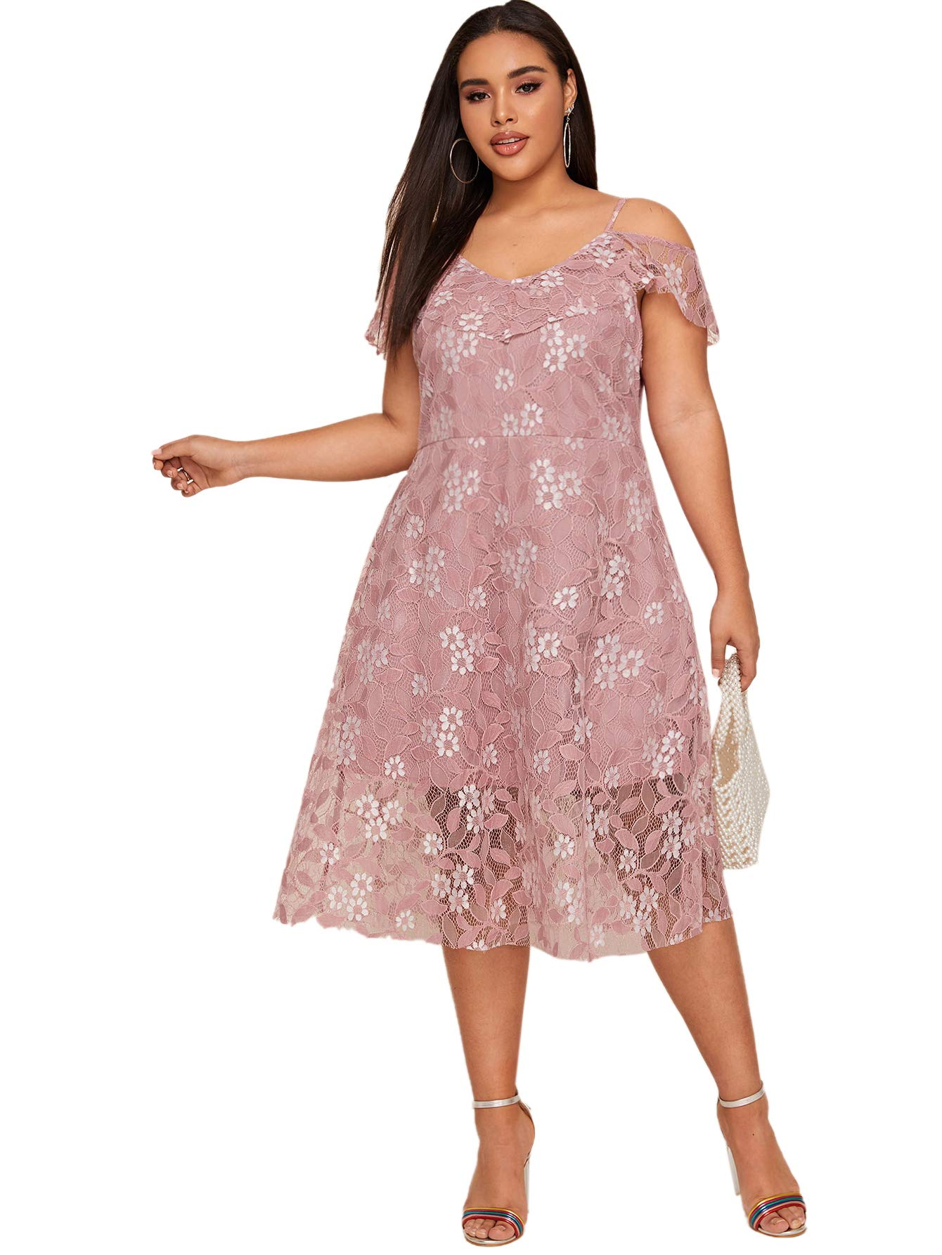 Milumia Ruffle Cold Shoulder A Line Dress