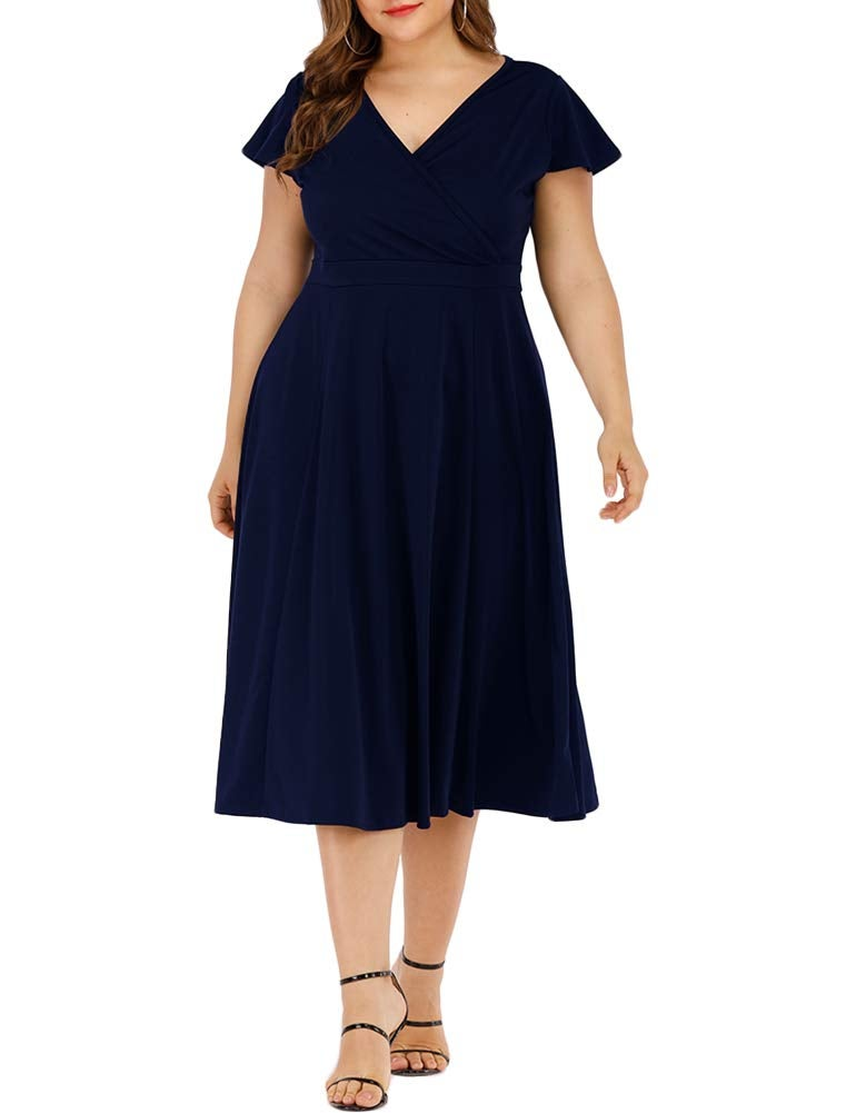 Agmibrelr Flutter Sleeve Swing Dress