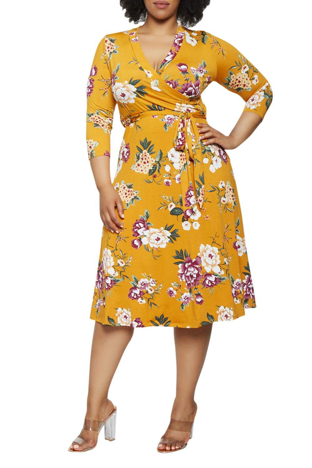 Pink Queen Faux Wrap Floral Dress with Belt