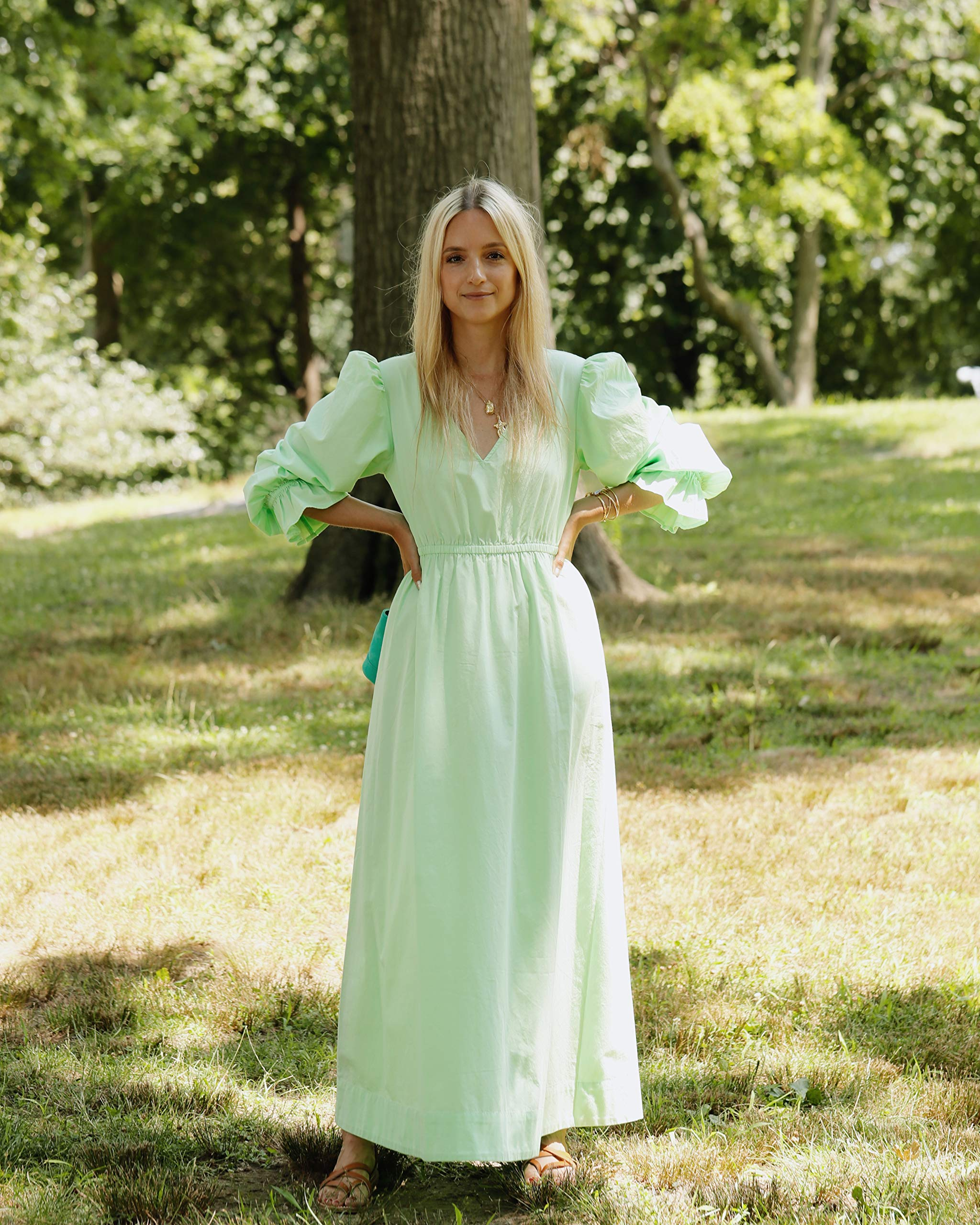 The Drop V-Neck Balloon Sleeve Maxi Dress
