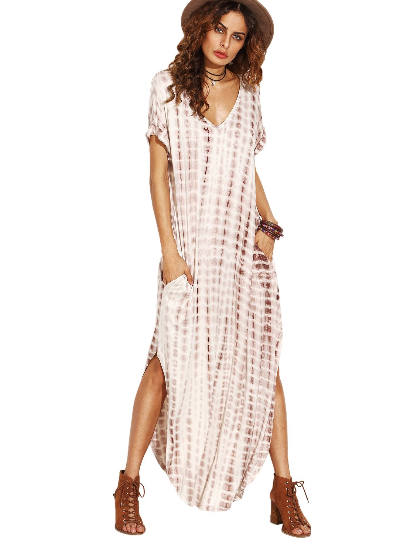MakeMeChic Boho Tie Dye Maxi Dress