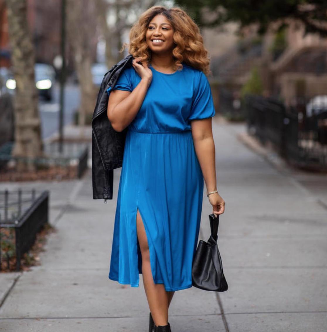 The Drop Blue Front Slit Midi Dress