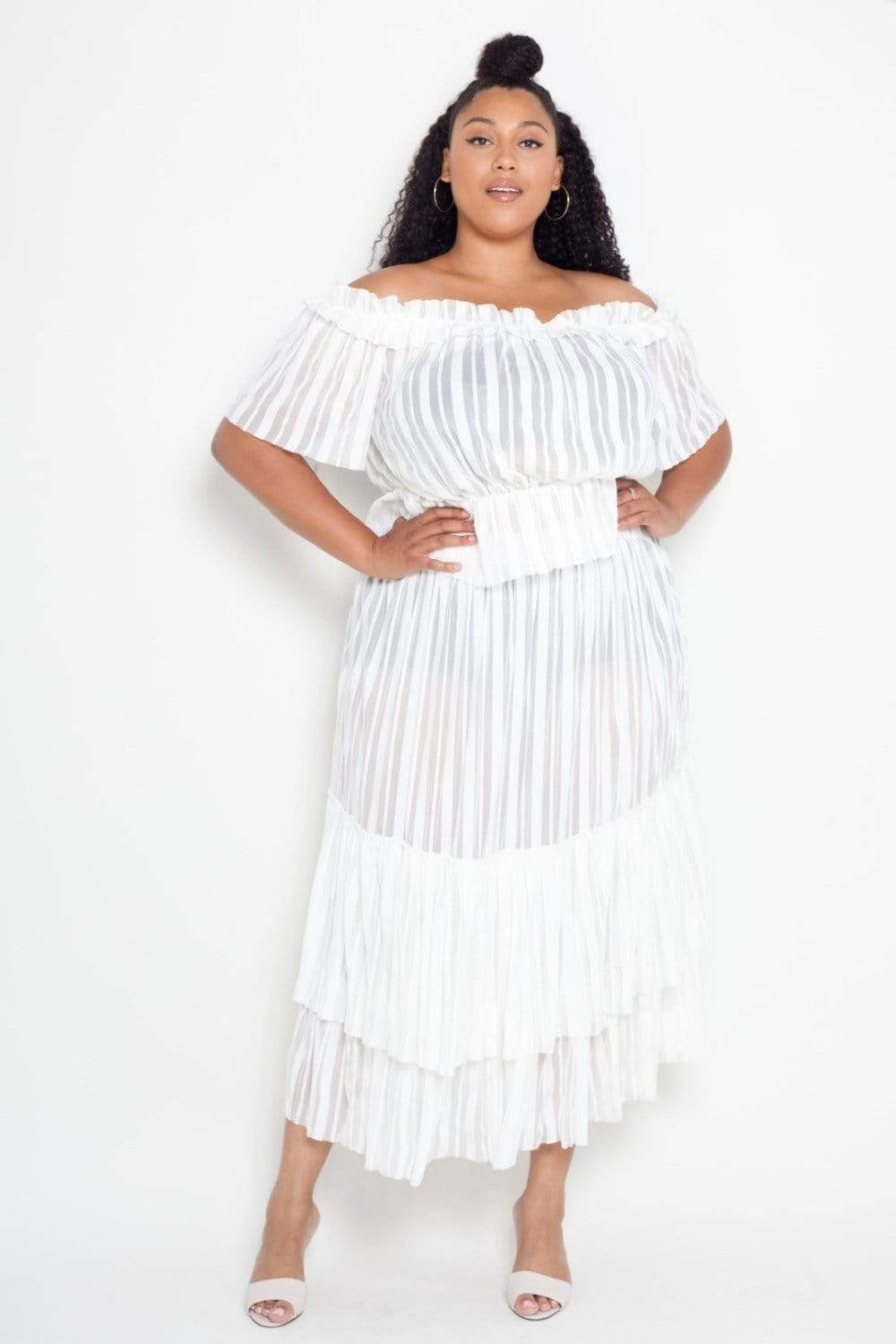 Buxom Couture Sheer Striped Crop Top Skirt Set