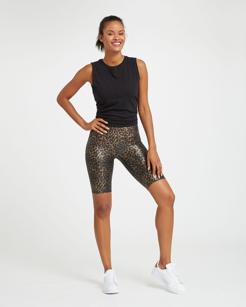 SPANX Faux Leather Printed Bike Short