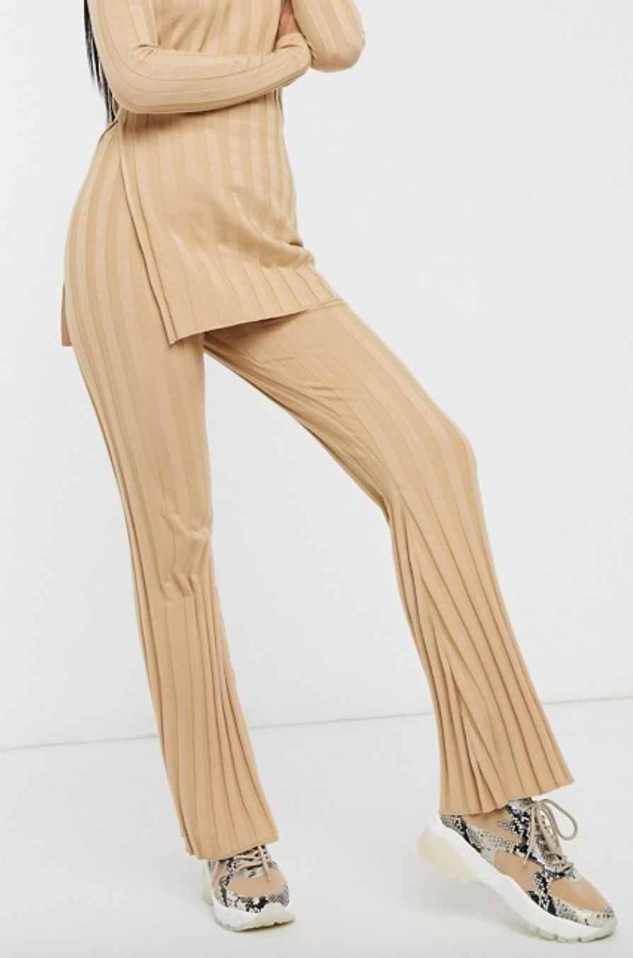 Missguided Two-Piece Ribbed High Waisted Flared Pants