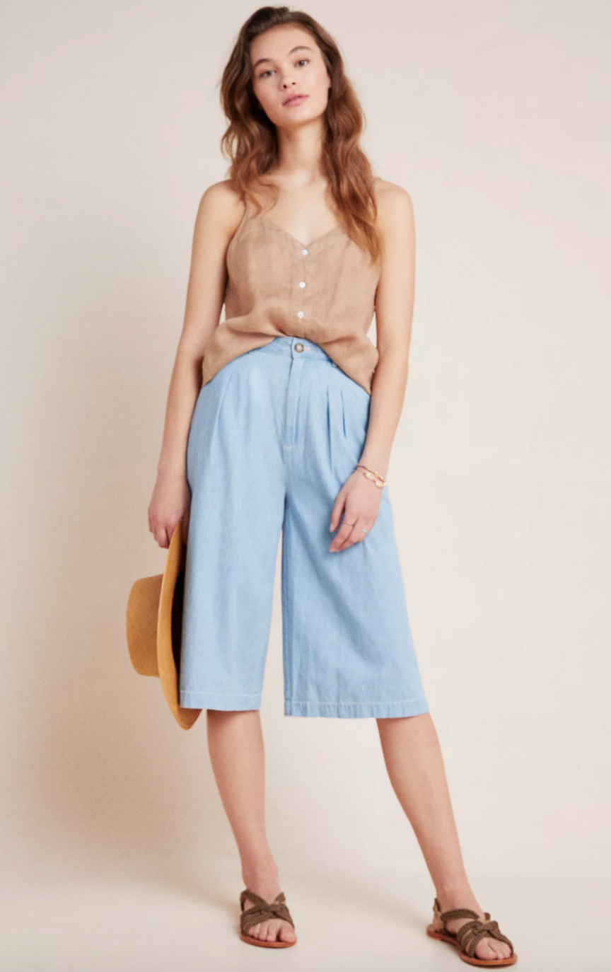 Anthropologie Mina Chambray Culottes