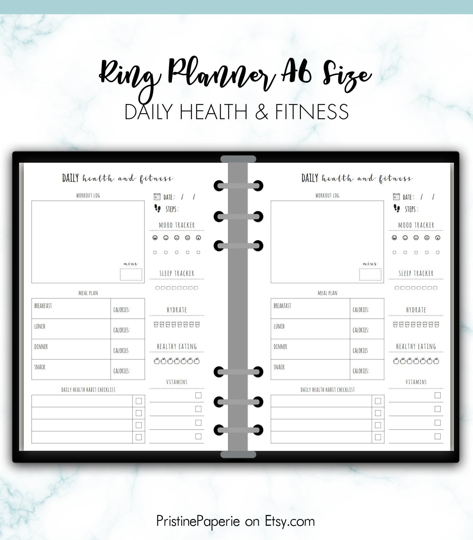 RING A6 Daily Health and Fitness Planner Insert Printab