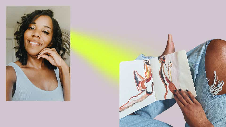 On the left, an image of Lindsay Adams smiling with her hand held up to her chin and black nail polish on her fingernails. She is wearing a white scoop-neck tank. On the right, Lindsay holds one of her pieces on her lap. She is wearing light-wash ripped jeans. The painting she is holding depicts two female forms.