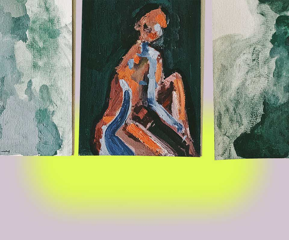 A painting from Lindsay Adams depicting a female form with blue, orange, and brown brush strokes.