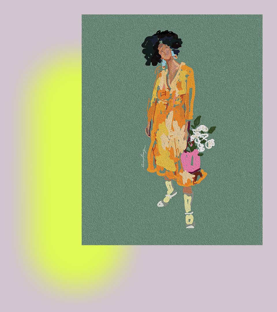 An illustration by Lindsay Adams of a woman standing in a yellow mid-length dress carrying a bouquet of flowers. The woman has brown curly hair and green earrings.