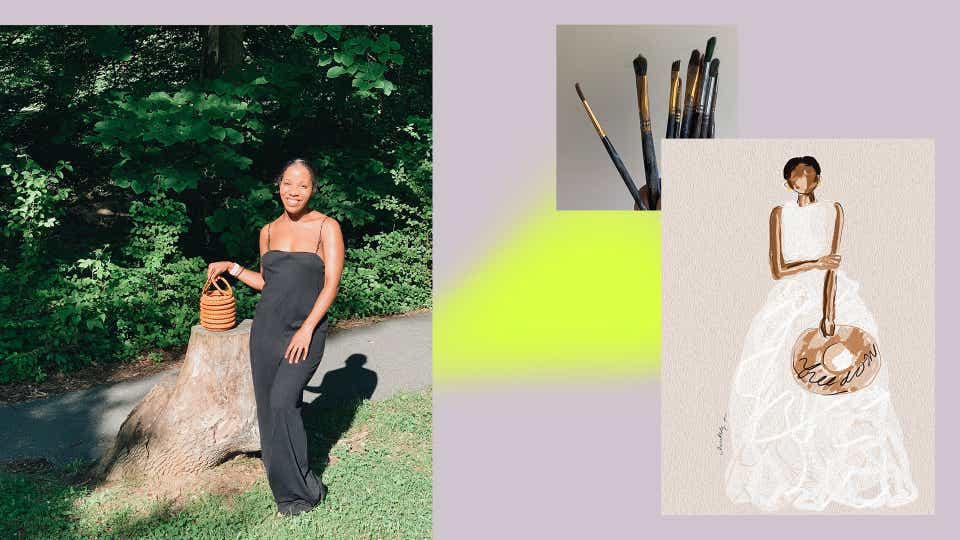 On the left, an image of Lindsay Adams standing in a park wearing a black spaghetti strap jumpsuit and holding a woven bucket bag. She is smiling and the sun is shining brightly on her. On the right, there is a photo of Lindsay's brushes and an illustration of a woman in a full white gown holding a hat.