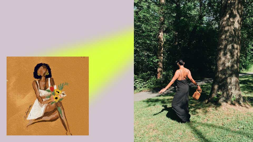 On the left, an illustration by Lindsay Adams of a woman sitting cross-legged while wearing a white mini-skirt and matching white bandeau top. She is holding sunflowers and has short brown hair and gold earrings. On the right, an image of Lindsay twirling in a park wearing a black spaghetti strap jumpsuit. Her back is facing the camera and she is swinging her woven bucket bag in the air.
