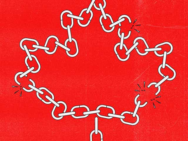 an illustration of chains in the shape of the Canadian flag