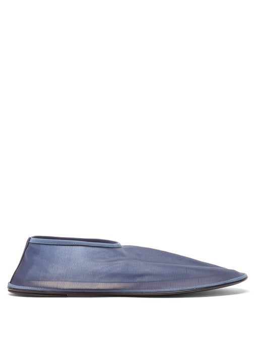 The Row Leather And Mesh Ballet Flats