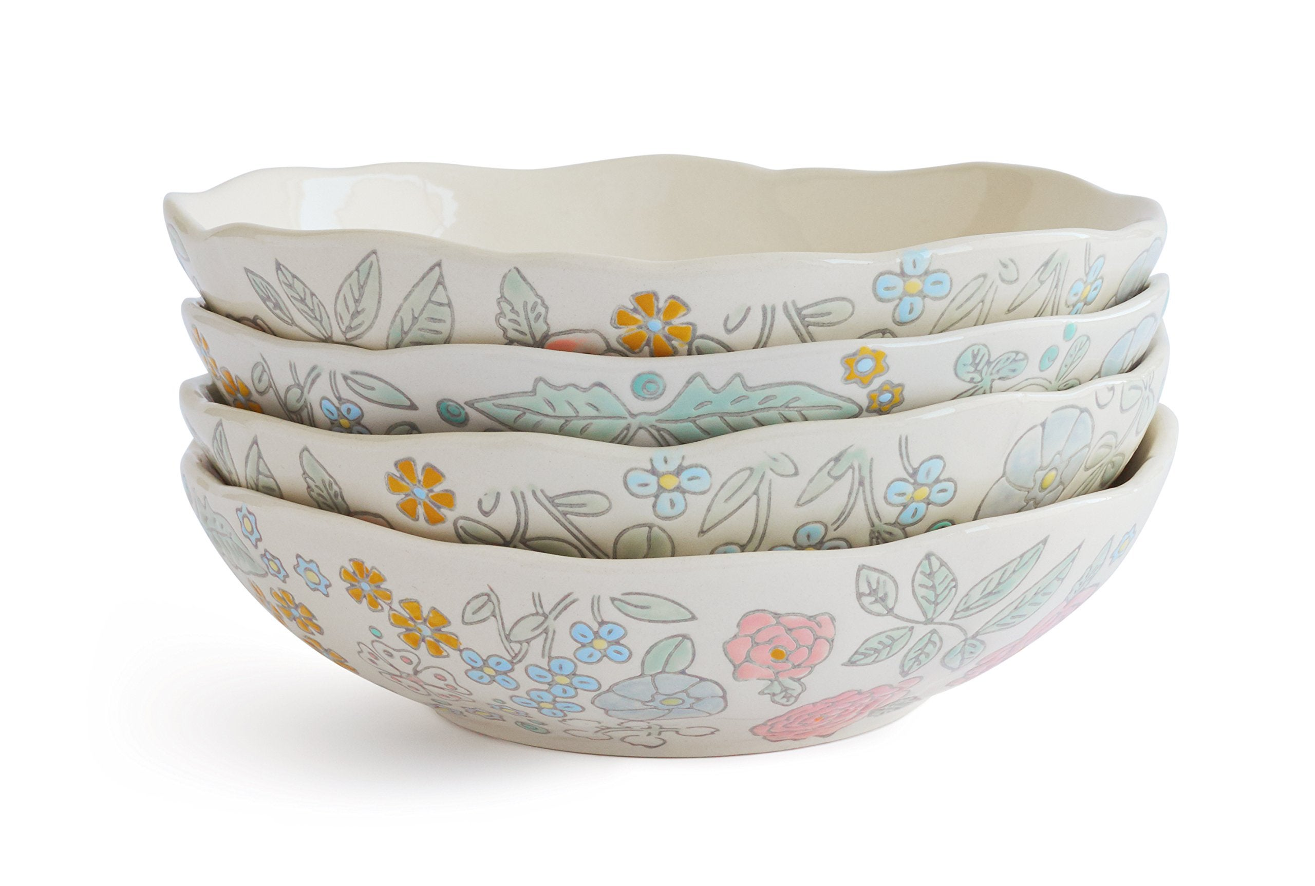 Dorotea Hand Painted Soup/Cereal Bowl, 7.25-Inch