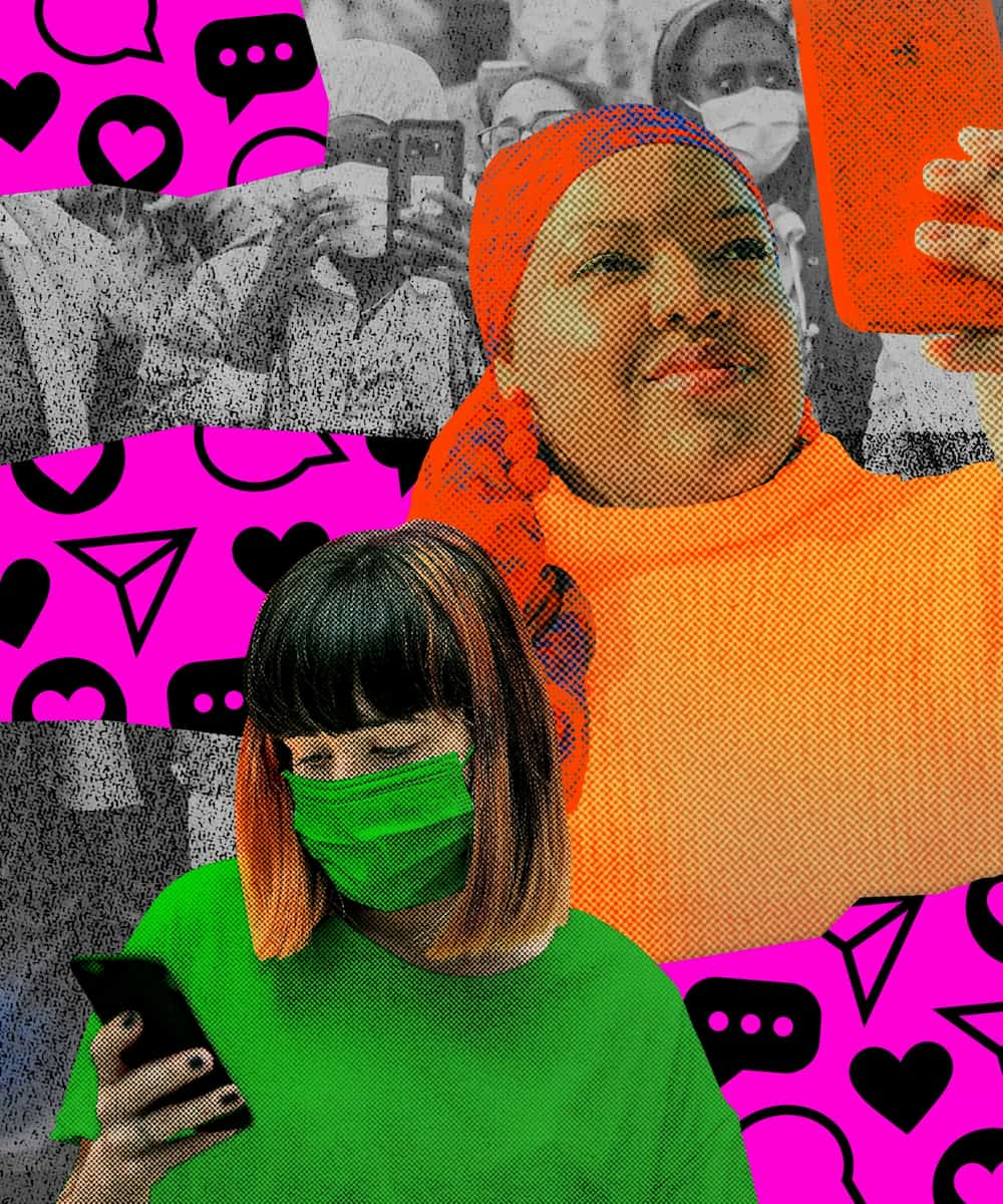 A woman wearing a headscarf and a woman wearing a mask look at their phones in an abstract collage