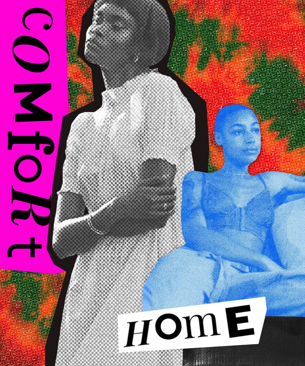 A woman embracing herself in a loose dress and another person relaxing, a tie dye background, and the words 'comfort' and 'home'