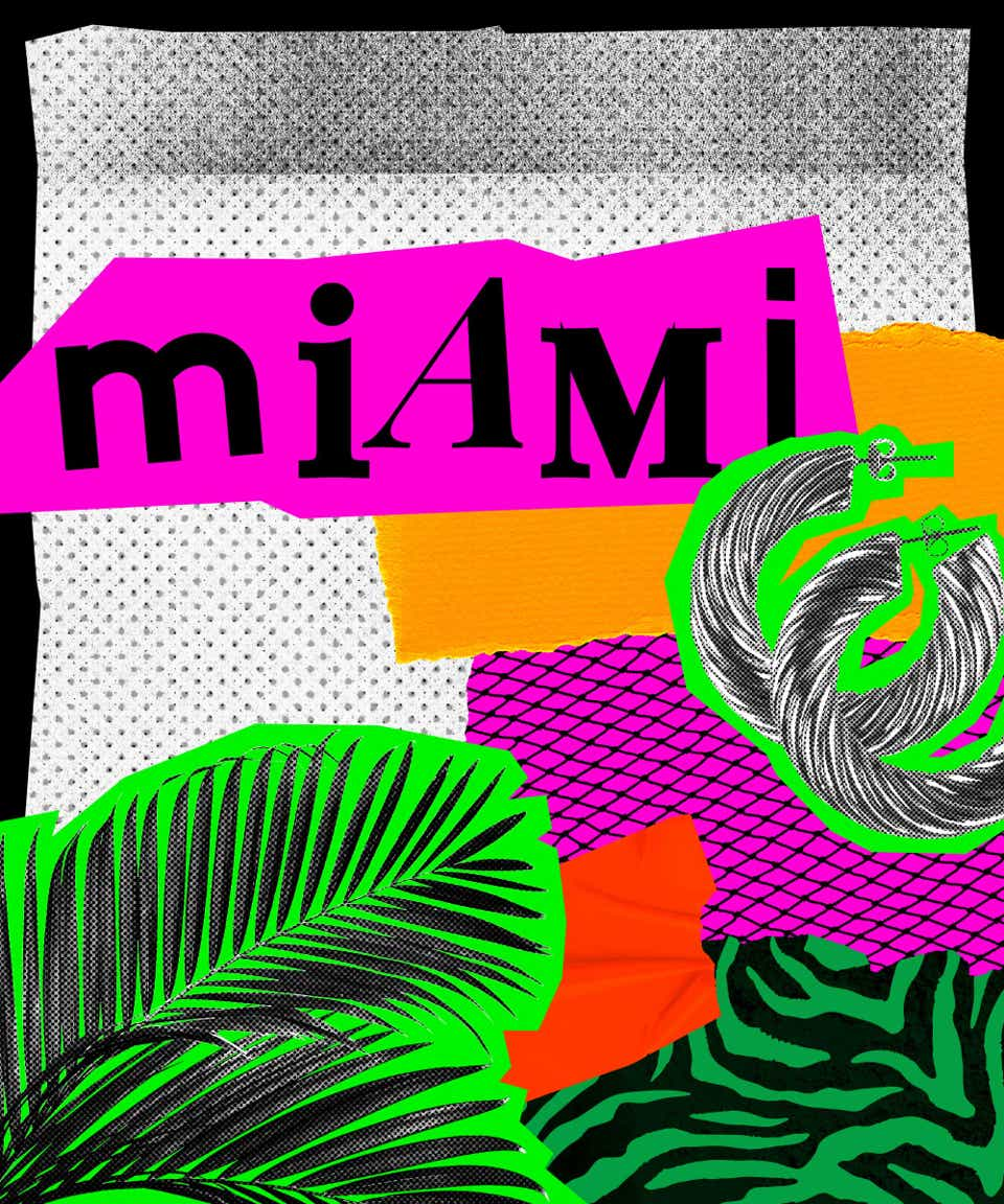 This is a collage image that introduces Miami street style. The name Miami is written in black, mismatched fonts on a hot pink background. There is an image of fern leaves and a pair of hoop earrings pasted below the city's name.