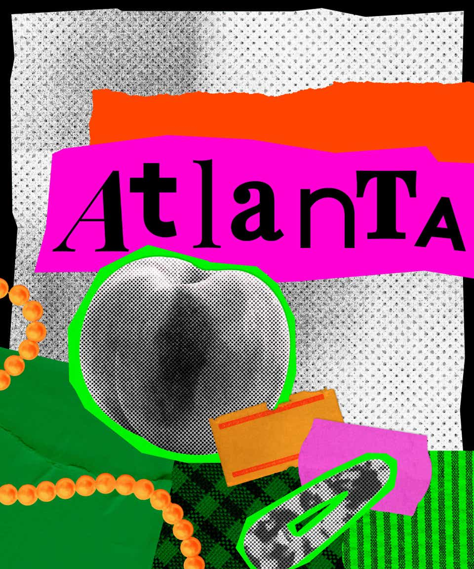 This is a collage image that introduces Atlanta street style. The name Atlanta is written in black, mismatched fonts on a hot pink background. There is an image of a peach and a tortoiseshell hair barrette pasted below the city's name.