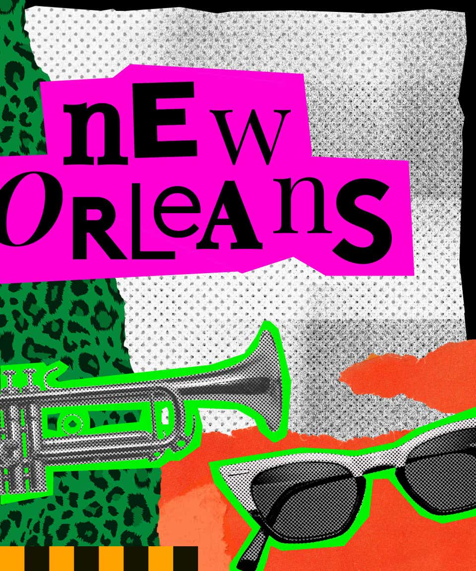 This is a collage image that introduces New Orleans street style. The name New Orleans is written in black, mismatched fonts on a hot pink background. There is a trumpet and a pair of cat-eye sunglasses pasted below the city's name.