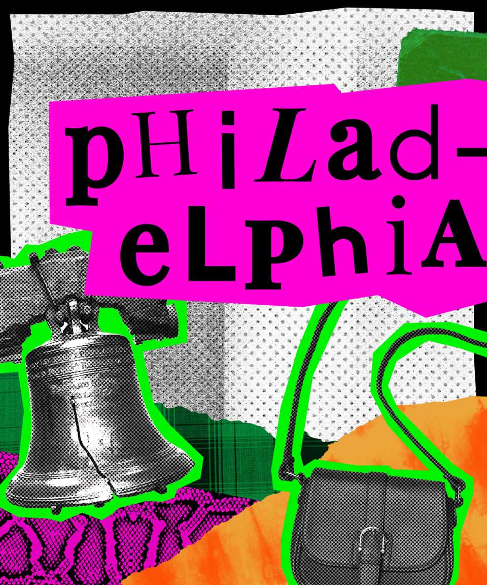This is a collage image that introduces Philadelphia street style. The name Philadelphia is written in black, mismatched fonts on a hot pink background. There is an image of the Liberty Bell and a cross-body handbag pasted below the city's name.