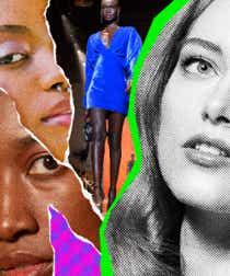 A collage juxtaposing Black models against white models
