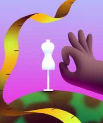 A plus-size woman flicks away a tiny dress form