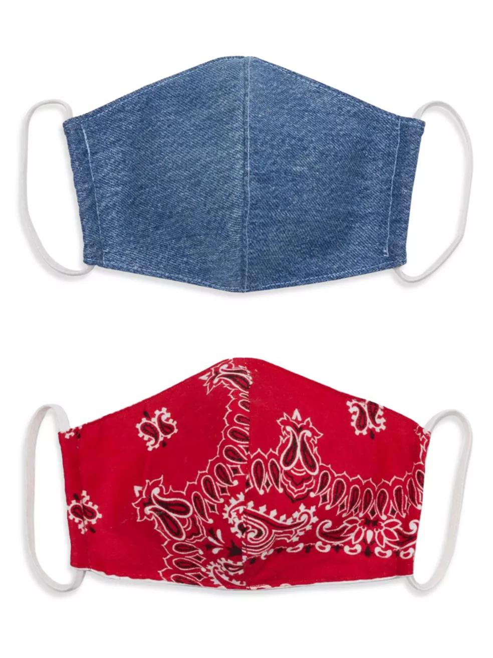 RE/DONE Upcycled Denim & Bandana Face Masks Set
