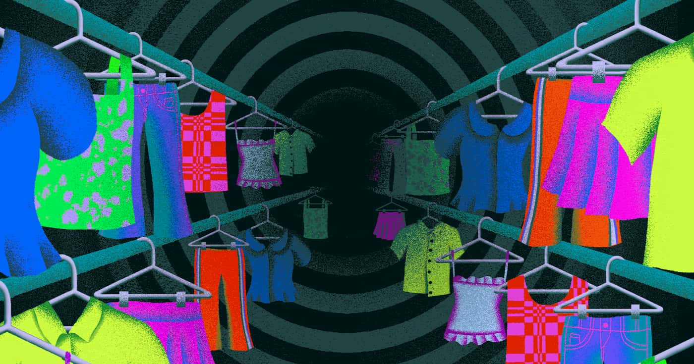 Clothing racks disappearing into a hypnotic vortex